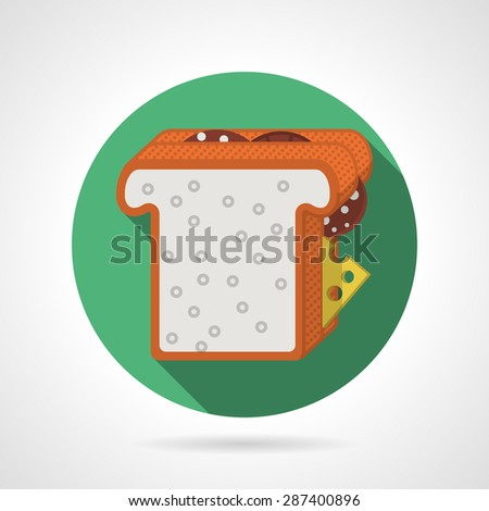 Round blue flat color design vector icon for sandwich with square toast, salami and cheese on gray background with long shadows. - stock vector