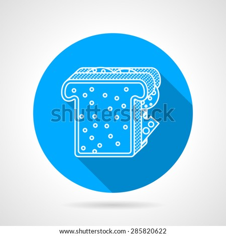 Round blue flat vector icon with white line sandwich with square toast, cheese and sausage on gray background with long shadows. - stock vector