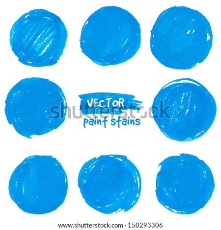 Round blue marker vector color stains - stock vector
