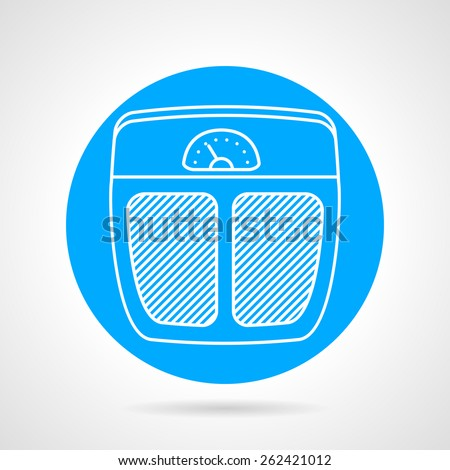 Round blue vector icon with flat white line scales for sport weigh controlling on gray background. - stock vector