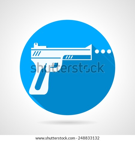 Round blue vector icon with white silhouette traumatic weapon on gray background. Long shadow design. - stock vector