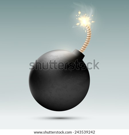 round bomb with a burning wick - stock vector