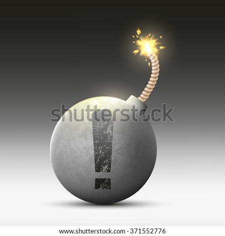 Round bomb with a wick and an exclamation mark. Stock vector illustration. - stock vector