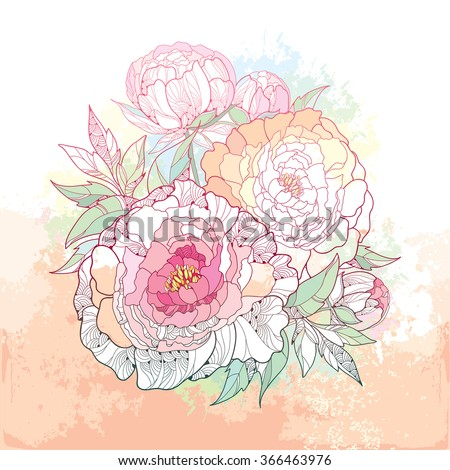 Round bouquet with five peony flower and leaves on the textured beige background with blots in pastel color. Floral elements in contour style. - stock vector