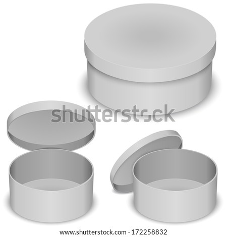 Round box vector template isolated on white background open and closed - stock vector