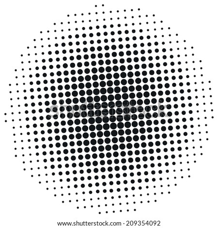 Round brush with halftone effect. The black dots on a white background. - stock vector