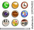 round button icons-set 2 - stock vector