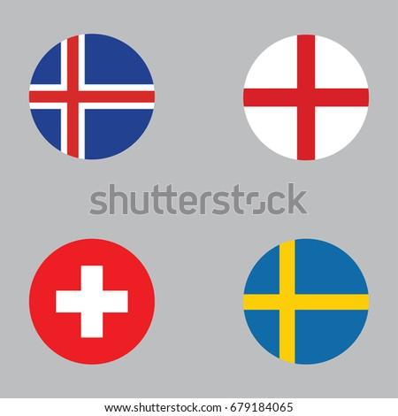 Round Button National Flag England Sweden Stock Vector - Flag of england