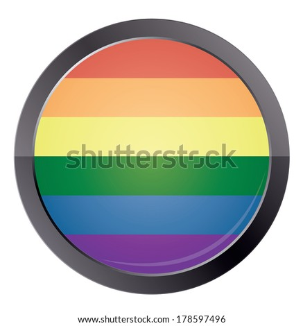 Round button with rainbow flag isolated on white background. vector illustration - stock vector