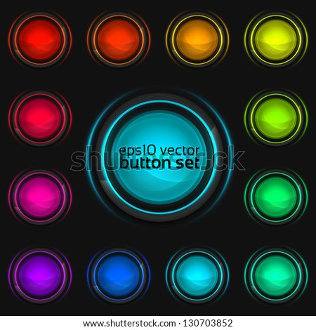 Round buttons set of glossy colorful plastic design elements with glass cover and backlight, eps10 vector collection of twelve - stock vector