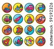 round buttons with pictures of transport - stock vector