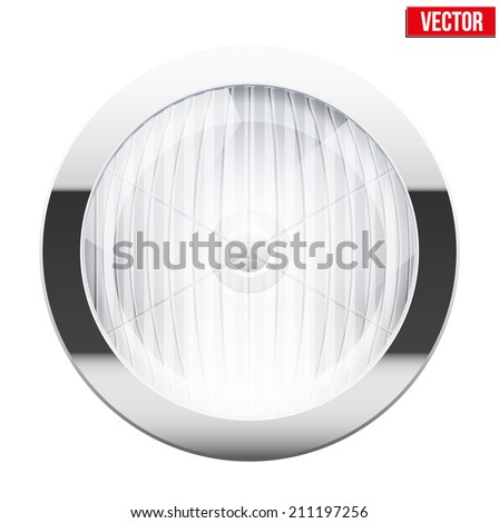 Round car headlight. Vintage Vector Illustration isolated on white background. - stock vector