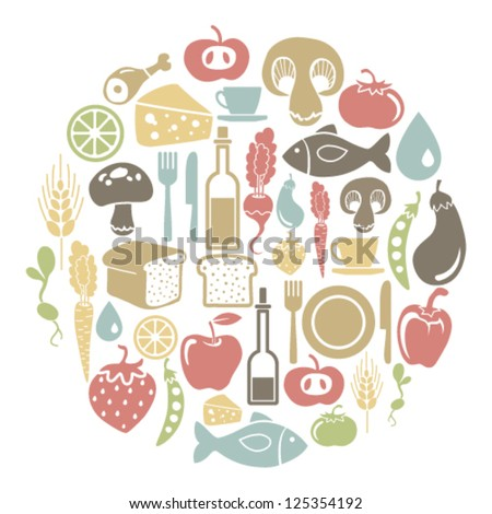 round card with food icons - stock vector