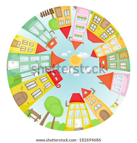 Round cartoon street with colorful houses. - stock vector