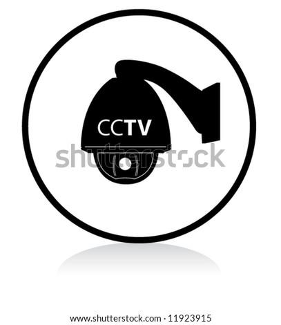 round CCTV sign speed dome - BLACK version - stock vector