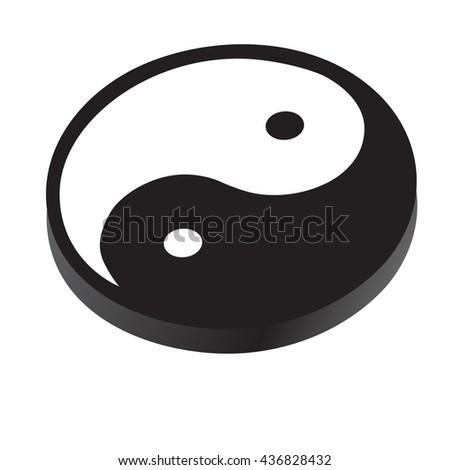 Round chip Yin Yang. Vector. - stock vector