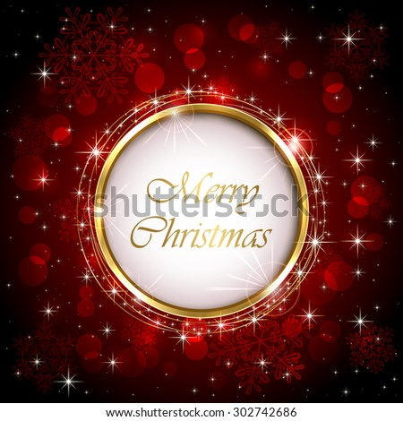 Round Christmas decoration on red blurry background with stars, illustration.  - stock vector