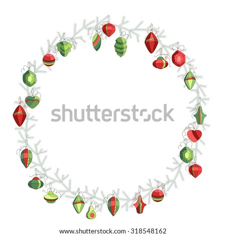 Round Christmas wreath with decoration isolated on white. Simple colors. For Christmas design, announcements, postcards, posters. - stock vector