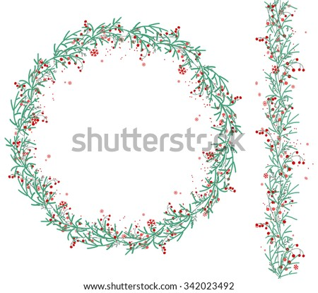 Round Christmas wreath with snow and fir branches isolated on white. Endless vertical pattern brush. For festive design, announcements, postcards, posters. - stock vector