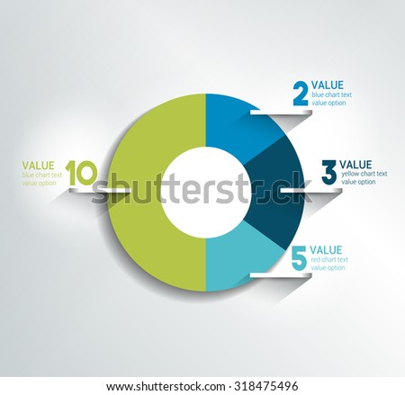Round, circle chart, graph. Simply color editable. Infographics elements. - stock vector