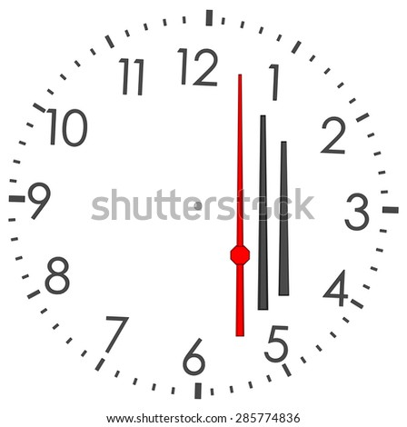 Round clock with numbers on isolated white background. Vector illustration - stock vector