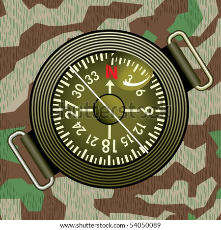 Round compass on the military camouflage background