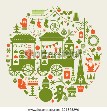 Round composition with Christmas market, street food trolleys, Christmas trees and holiday season symbols. - stock vector