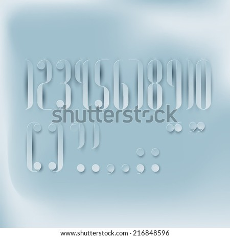 Round Condensed Paper Cut Font - stock vector