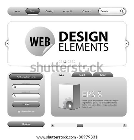 Round Corner Web Design Elements Graphite Gray - stock vector