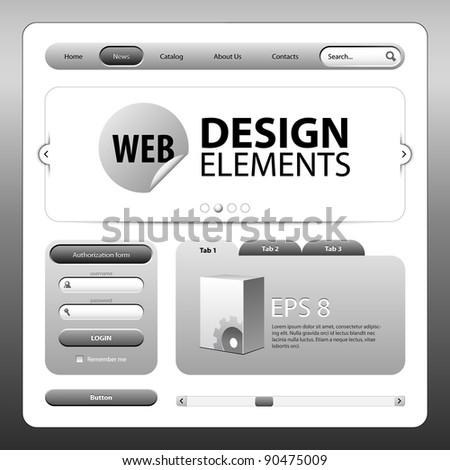 Round Corner Web Design Elements Graphite Gray Grayscale - stock vector