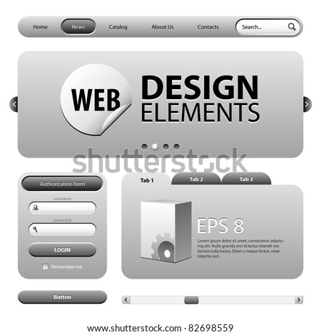Round Corner Web Design Elements Graphite Gray: Version 2 - stock vector