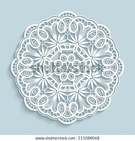 Round Cutout Paper Ornament Lace Doily Stock Vector Hd Royalty Free