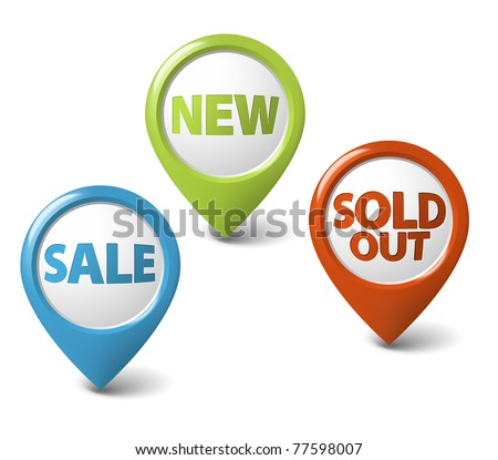 Round 3D pointer for big sale, new and sold out items - stock vector