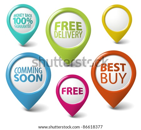 Round 3D pointer for eshop items - free delivery, best buy, guarantee - stock vector