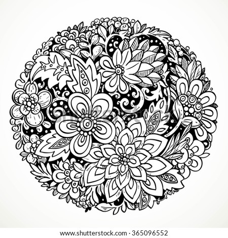 Round decorative element for processing imaginary flowers black and white drawing