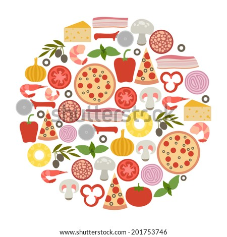 round design element with pizza icons - stock vector