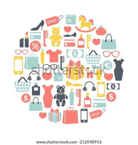 round design element with shopping icons - stock vector