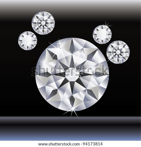 round diamond, illustration, vector - stock vector