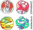 Round dragon designs. Set of color vector illustrations. - stock
