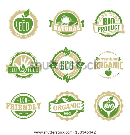 Round eco green stamp label of healthy organic natural fresh farm food - stock vector