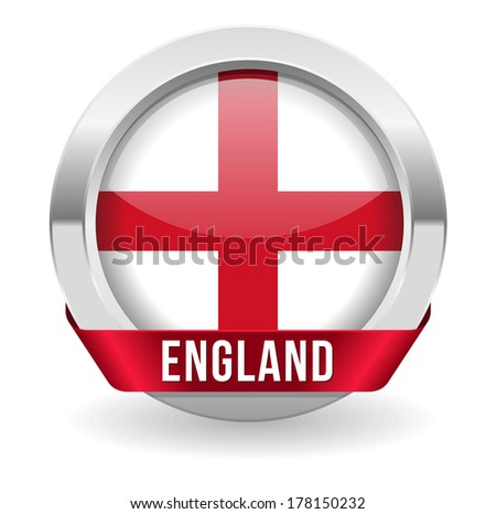 Round england button with ribbon and metallic border - stock vector