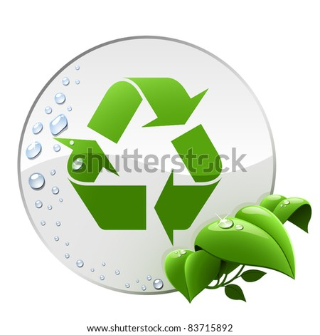 Round environmental label with recycling sign isolated on white. - stock vector