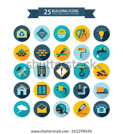 Round flat building icons for web. Vector illustration - stock vector