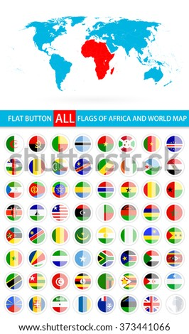 Round Flat Button Flags Of Africa Complete Set and World Map. Flag set in alphabetical order.All elements are separated in editable layers clearly labeled. - stock vector