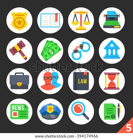 Round flat icons for web sites, mobile apps, web banners, infographics. Premium quality design illustrations. Law, police, justice concepts. Modern flat vector icons set 5