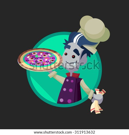 Round flat vector icon with vampire cook and Halloween kitchenware - stock vector