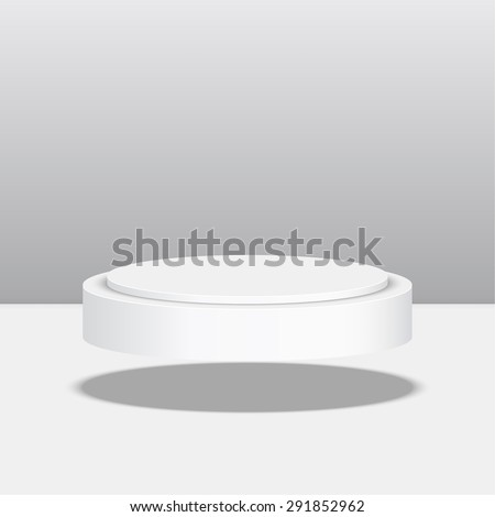 Round floating pedestal for display. Platform for design. Realistic 3D empty podium - stock vector