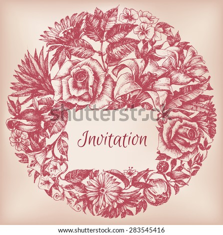 Round floral decoration, frame for text - stock vector