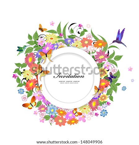 Round floral frame for your design - stock vector