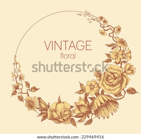 Round floral frame, vintage style vector - stock vector